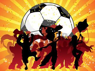Huge Crowd Celebrating Soccer Game.
