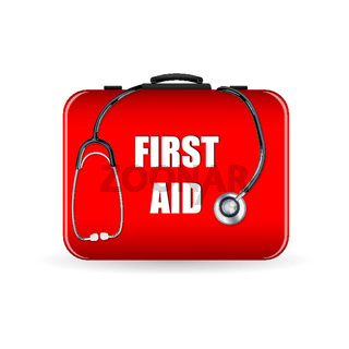 first aid box with stethoscope