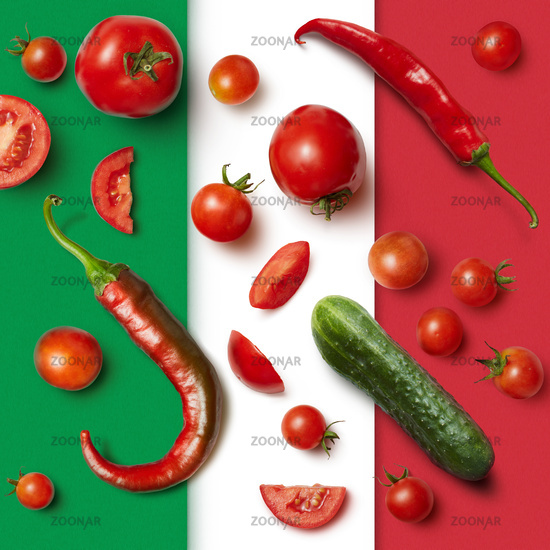 vegetables on the Italian tricolor