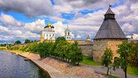 Pskov Kremlin on Velikaya River, Pskov, Russia