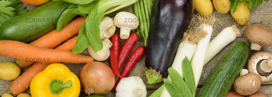 panorama of fresh vegetable fruits