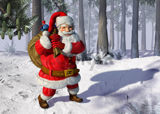 Santa Claus walking on snow.