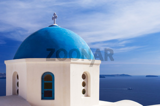 Blue church dome in Santorini, Greece