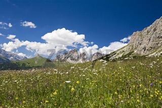 Sella Gruppe (Sella Massiv) am Pordoi Pass, Pordoijoch (Passo Pordoi), Dolomiten, Suedtirol, Italien, Europa, Sella group at Pordoi pass, Dolomite Alps, South Tyrol, Italy, Europe