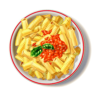Macaroni plate with tomato sauce and basil, viewed from top.