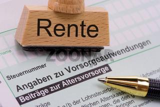 Steuerformular für Finanzamt zu Altersvorsorge und Rente