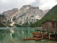 Boathouse at Pragser Wildsee (Lago di Braies), South Tyrol, Italy