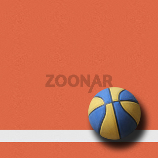 basketballl on court