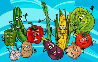 funny vegetables group cartoon illustration