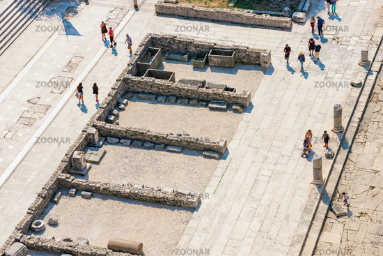 Birds eye view of tourists in Zadar