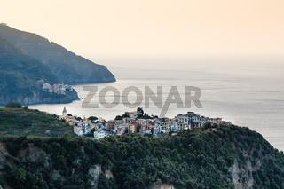 Villages Corniglia and Manarola at the Morning in Cinque Terre, Italy