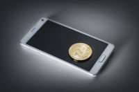 mobile phone and a bitcoin