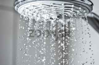 Wasserstrahl aus einem Duschkopf im Badezimmer