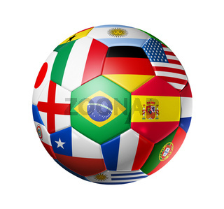 Football soccer ball with world teams flags
