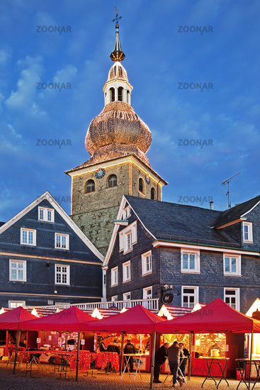 historical old city of Lennep with Christmas market and evangelic town church, Remscheid, Germany