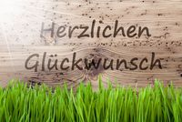Bright Sunny Background, Gras, Herzlichen Glueckwunsch Means Congratulations