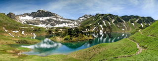 Remote lake up high in the alpine mountains. Schrecksee.