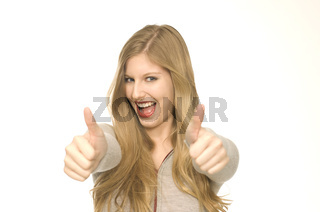 Frau macht Handzeichen
