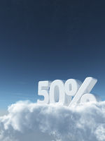 the number fifty and percent signs on clouds - 3d rendering