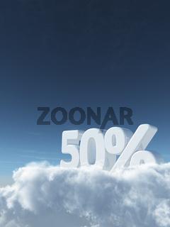 die zahl fünfzig und prozentzeichen auf wolken - 3d rendering