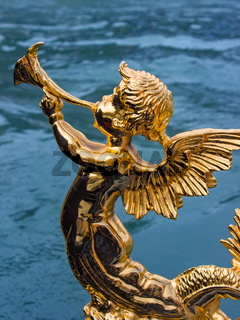 Gold figure of an angel on a gondola