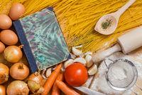 Book cover of a cookbook and Spaghetti