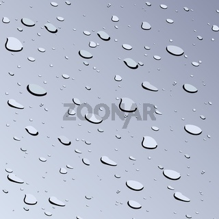 Realistic illustration of water drops on glass
