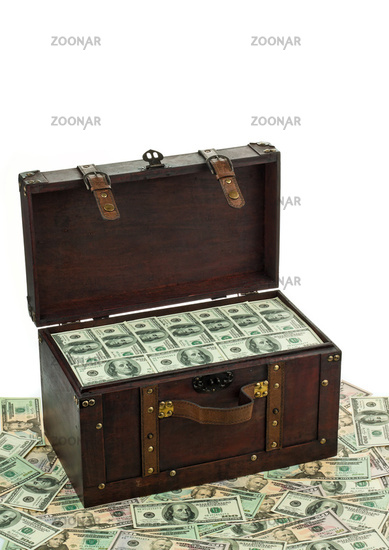 Treasure chest with dollar bills