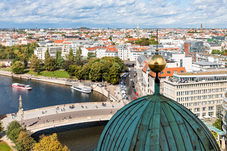 Berlin cityscape with Spree River in september