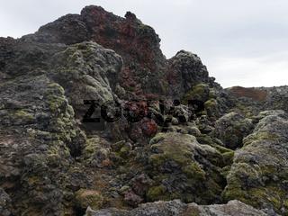 Lavaformationen am aktiven Vulkan Leirhnjukur in Island