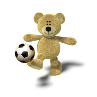 Nhi Bear kicking a soccer ball, Front