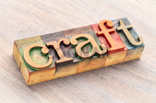 craft word abstract in wood type