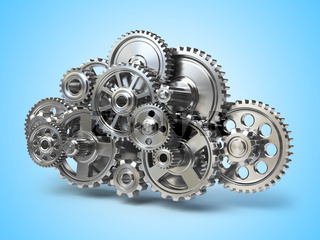 Engine gears in form of cloud. Cloud computing and networkin concept.