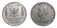 fifty 50 cents LEK Albania Colony acmonital Coin 1940 Vittorio Emanuele III Kingdom of Italy, World war II