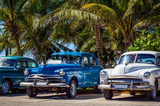 HDR - Amerikanischer Oldtimer parken in Linie unter Palmen in Varadero Kuba