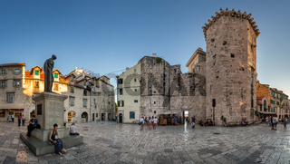 Panorama of Trg Brace Radic is a medieval square, with a beautiful medieval tower, the Palace Milesi and the statue of the Croatian poet Marko Marulic, Split, Croatia
