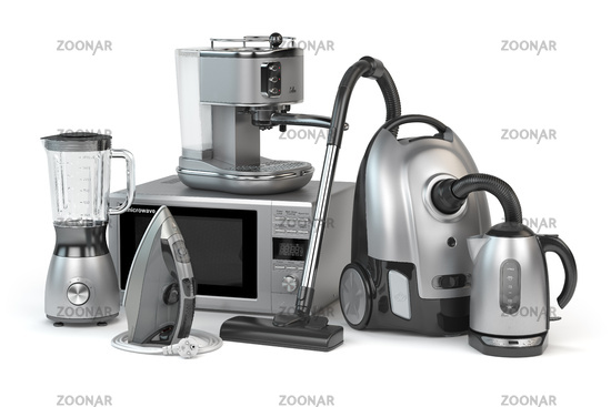 Home appliances. Set of household kitchen technics isolated on white background. Microwave oven, vacuum cleaner,  iron blender and teapot.