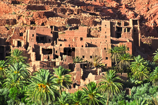 Old berber architecture near the city of Tinghir in Atlas Mountains region in Morocco.