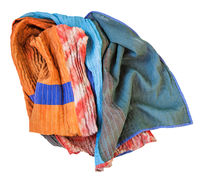 rumpled stitched scarf from batik and painted silk