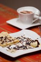 Pancake with icecream and coffee