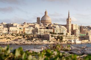 Golden sun on Valletta, capital of Malta