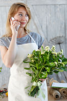 Florist girl talking on phone