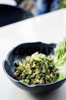 tabouleh traditional lebanese middle eastern salad bowl meze starter