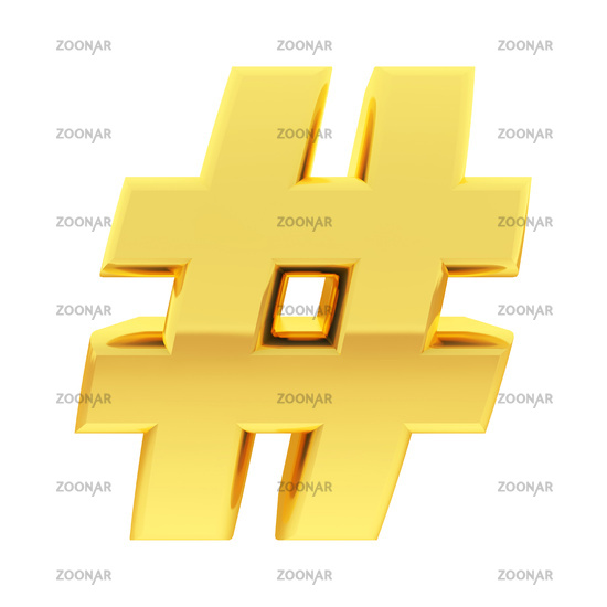 Gold number sign with gradient reflections isolated on white. High resolution 3D image