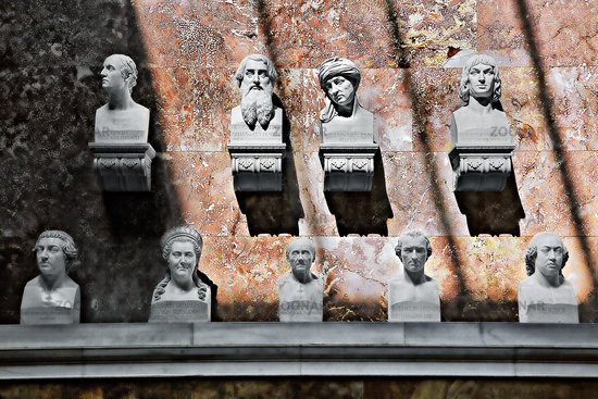 Group of busts in the Valhalla, Danube Valley, Bavaria, Germany