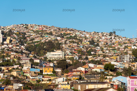 View over the colorful houses of Valparaiso in Chile