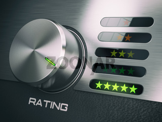 Five stars level of quality service, satisfaction, customer loyalty concept. Knob in highets position with five stars.