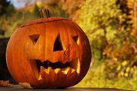 A laughing Halloween pumpkin