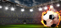 Burning soccer ball on stadium