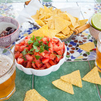 Tortilla chips with tomato salsa